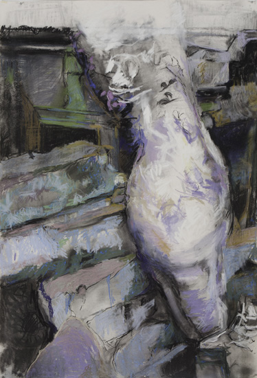 Ascending-Descending, 2010, pastel, charcoal on paper, 64 x 44 inches