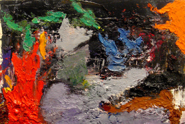 Flame, 2012, oil on masonsite 5.25 x 8 inches