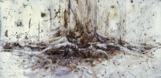 Forest Roots for JS, 2000, ink, charcoal, pastel on paper, 22 x 44 inches