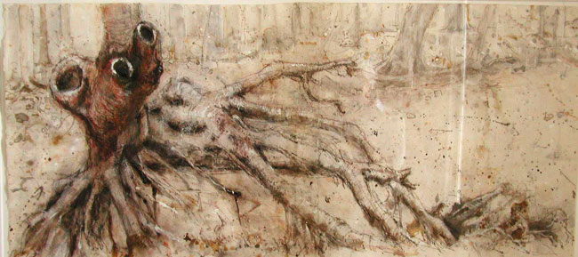 Forbidden, 1997, ink, pastel, charcoal on paper, 20 x 46 inches