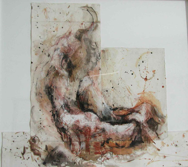 Trespassing 2, 1997, ink, pastel, charcoal on paper, 26 x 29 inches