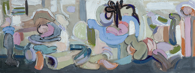 Gathering, 2015, oil on linen, 15 x 40 inches