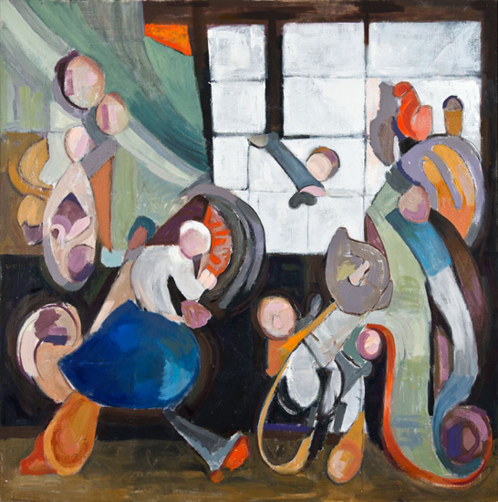 Procession, 2016, oil on linen, 72 x 72 inches