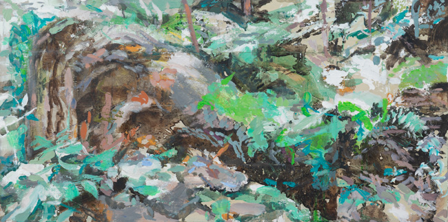 Forest Floor, 2019, oil on panel, 12 x 24 inches