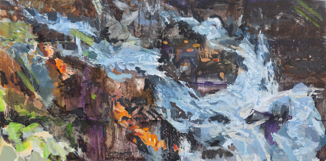 Kaaterskill Falls, 2019, oil on panel, 12 x 24 inches